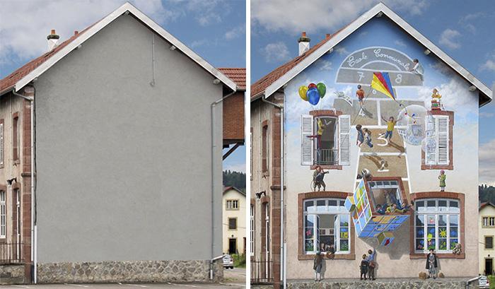 Талантлив художник преобразява по уникален начин сиви и скучни сгради във Франция