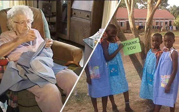 99-годишна жена уши 1000 рокли за децата в Африка