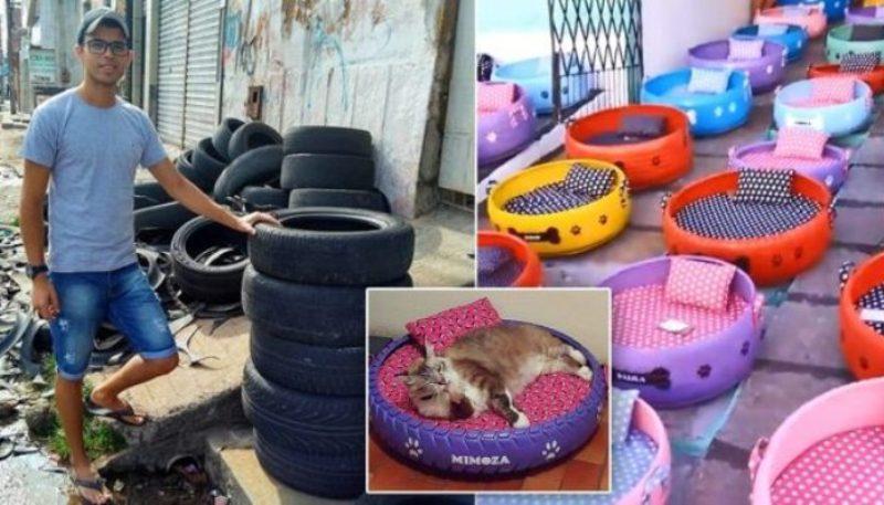 Бразилец трансформира стари гуми в уютни легла за животни