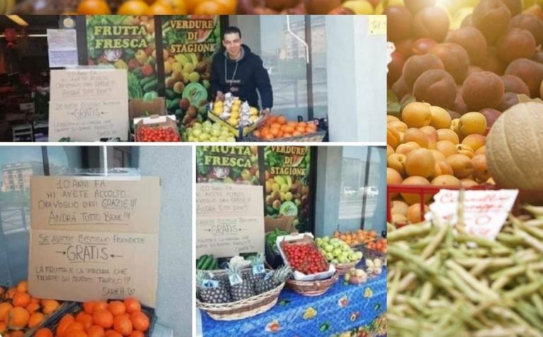 Имигрант в Италия раздава безплатно плодове в магазина си