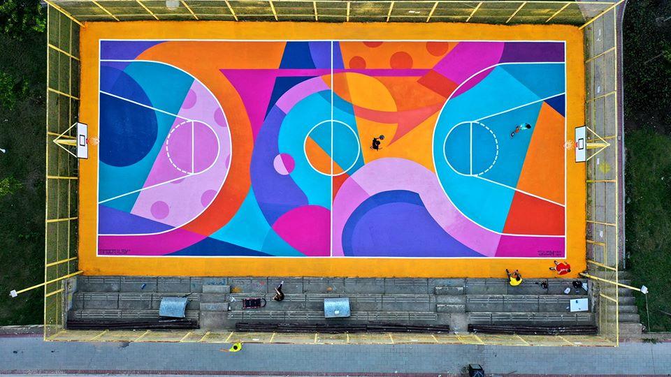 Уникално баскетболно игрище от българския графити артист Glow в Прищина, Косово